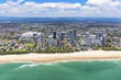 Sunny aerial view of Broadbeach looking inland on the Gold Coast, Queensland, Australia