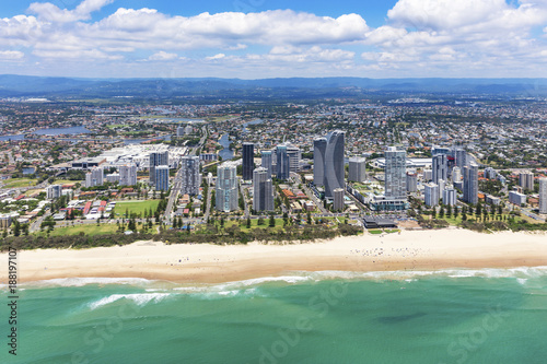Poster Sunny aerial view of Broadbeach looking inland on the Gold Coast, Queensland, Australia