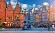 Wroclaw central market square with old colourful houses, street
