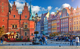 Wroclaw central market square with old colourful houses, street - 188199549