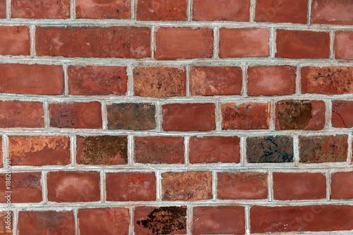 Wall of baked terracotta bricks