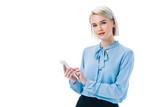 stylish businesswoman using smartphone, isolated on white - 188202321