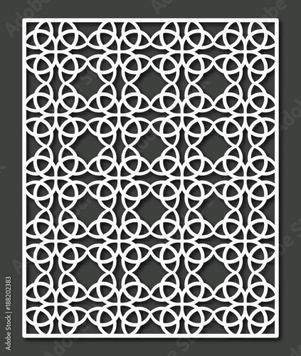 Decorative panel with repeating ornament for laser cutting. Vector geometric pattern. - 188202383