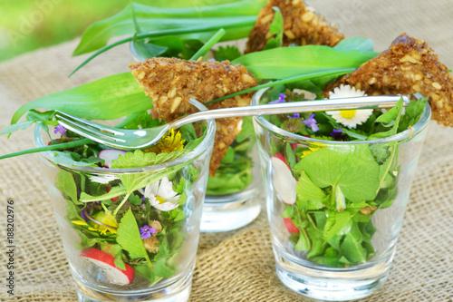Foto Murales Spring salad, Frühlingssalat, Wildkräutersalat, Frühlingskräutersalat, Frühling, Salat, Wildkräuter, Frühlingskräuter, Textraum, copy space