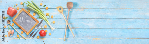 Poster food ingredients and chalkboard / blackboard, free copy space, panoramic, flat lay