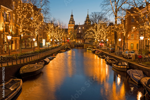 Christmas time in Amsterdam with the Rijksmuseum in Netherlands at twilight