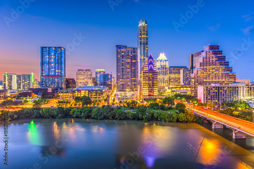 Austin, Texas, USA downtown skyline over the river. © SeanPavonePhoto