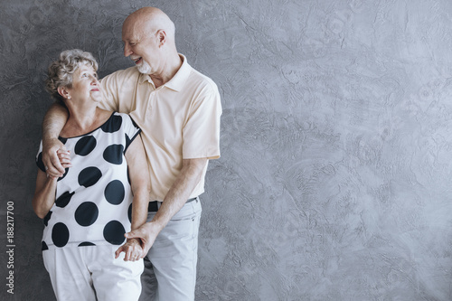Lovely senior couple hugging