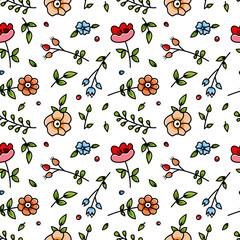 Cute cartoon floral seamless pattern