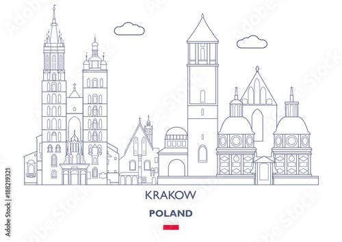 Krakow Linear City Skyline, Poland