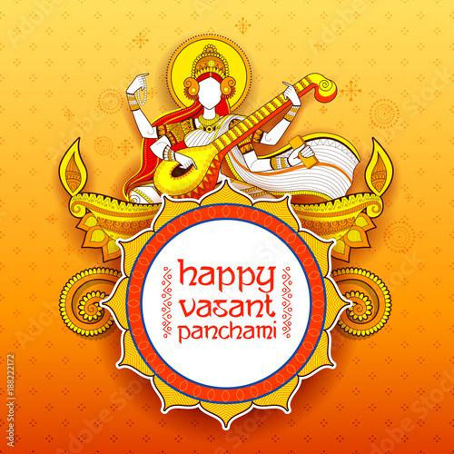 Plakát Goddess of Wisdom Saraswati for Vasant Panchami India festival background