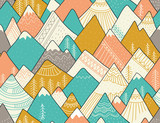 Seamless pattern with mountains in scandinavian style. Decorative background with landscape. Hand drawn ornaments. - 188225996