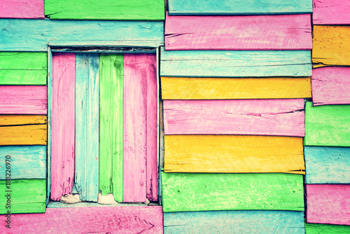 Old colorful wooden wall - 188226970