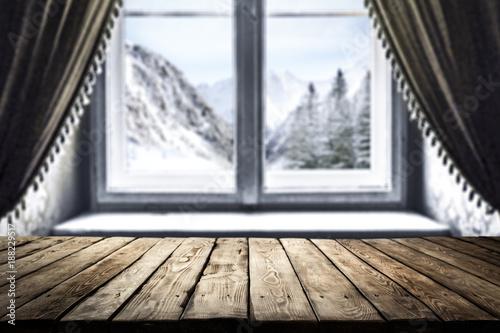 Foto Murales desk and winter window