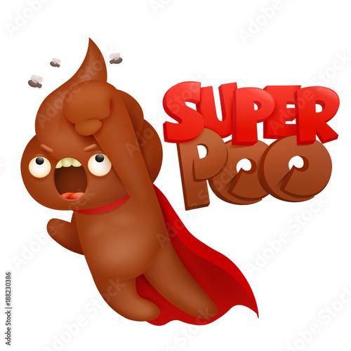 Super hero Poop emoticon icon cartoon character. - 188230386