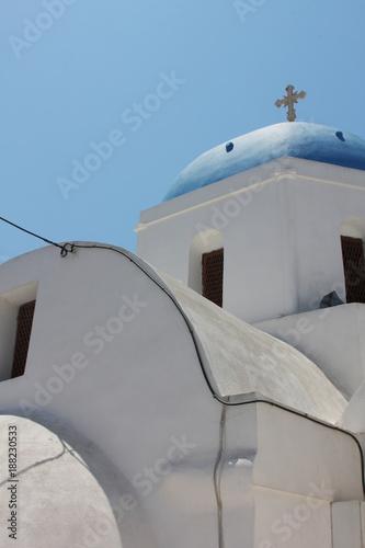 old white Church houses in Santorini in Greece