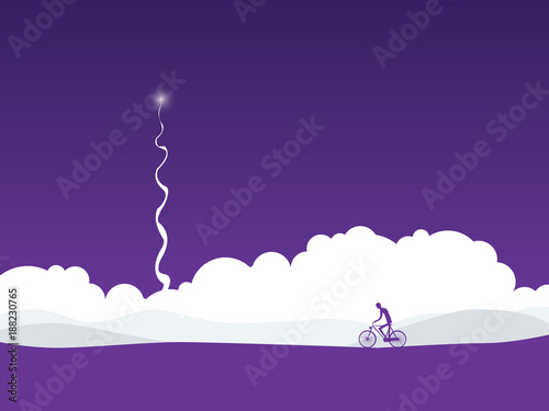 Canvas Snoeien Cyclist in abstract futuristic landscape with rocket launch. Symbol of active healthy lifestyle in future.