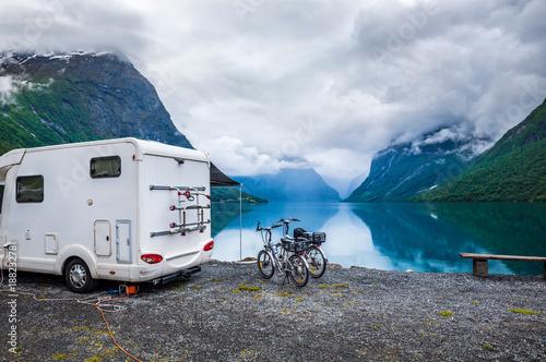 Staande foto Scandinavië Family vacation travel RV, holiday trip in motorhome