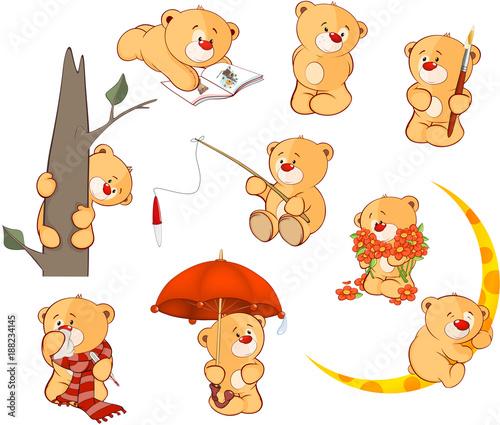 Papiers peints Chambre bébé Set of Cartoon Illustration Stuffed Bears for you Design