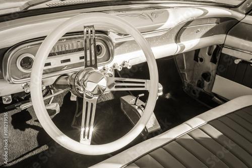 vintage auto interior and steering wheel - 188239516