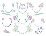 Vector Colorful Floral Text Frames, Branches, Laurels