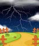 Nature scene with lightning and rain - 188248962