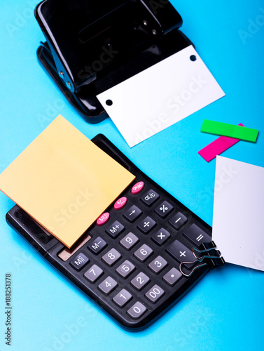 Stationery on cyan blue background, top view. Business cards - 188251378