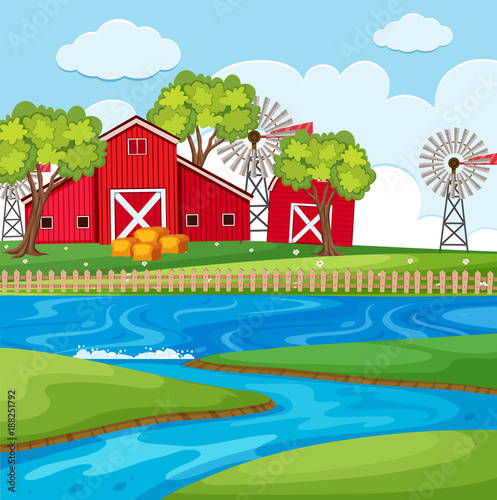 Fotobehang Pool Farm scene with river and barns