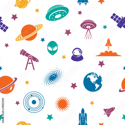 Seamless Repeating Pattern of Space Planet Universe Galaxy