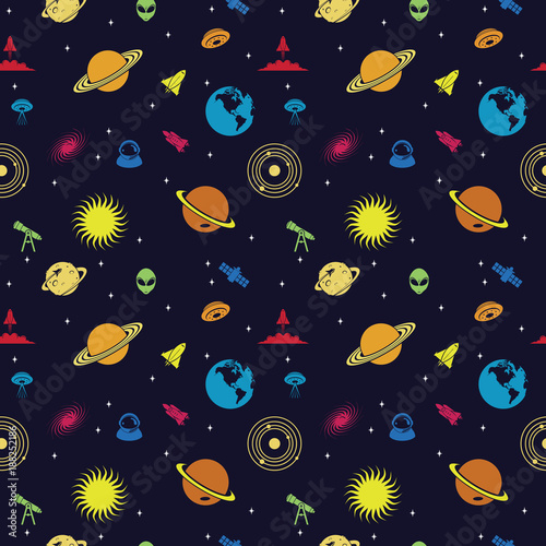 Seamless Repeating Pattern of Space Planet Galaxy Universe