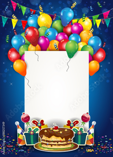 Balloons and Confetti With Ticket for Birthday