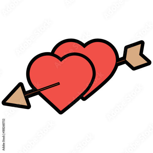 two hearts pierced with arrow romantic love vector illustration