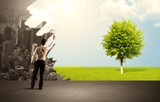 Salesman painting tree instead of city - 188269914