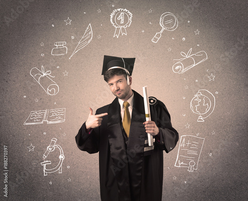 Happy graduate teenager with hand drawn school icons