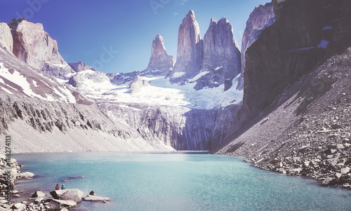 Vintage toned picture of the Torres del Paine mountain range, Patagonia, Chile.