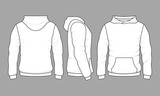 Fototapety Male hoodie sweatshirt in front, back and side views