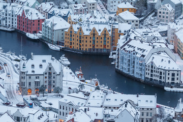 View of the town of Alesund during sunrise from Aksla hill.