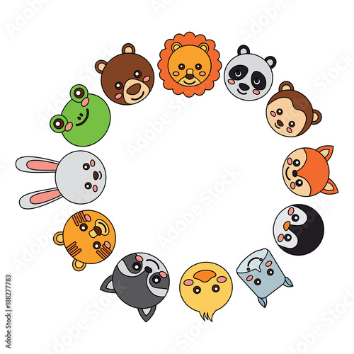 Poster cute animals in circle  icon image vector illustration design