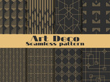 Fototapety Art deco seamless pattern. Set retro backgrounds, gold and black color. Style 1920's, 1930's. Lines and geometric shapes. Vector illustration