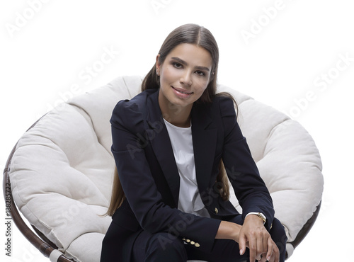 business woman relaxarea in a comfortable chair