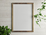 Wooden free frame with green plant on wooden wall, 3d render, 3d illustration - 188286597