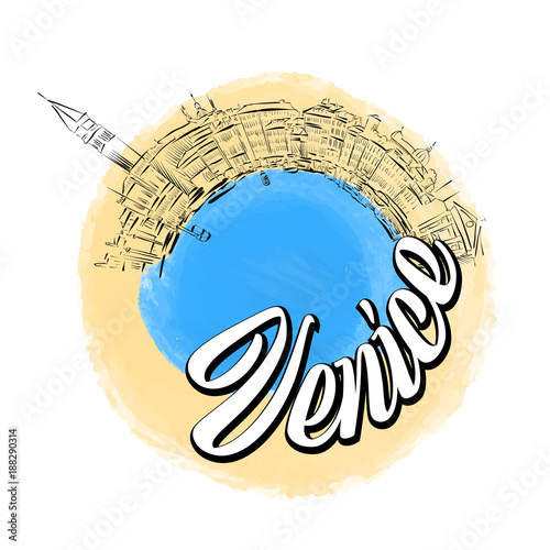 Venice colored landmark logo - 188290314