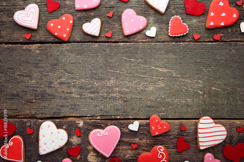 Foto Murales Homemade valentine cookies on wooden table