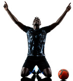one african soccer player man playing in studio isolated on white background - 188296133