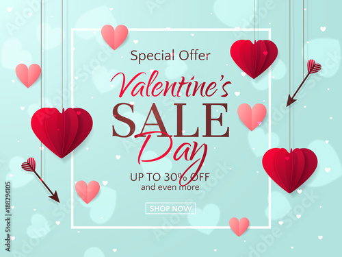 Foto op Aluminium Kasteel Vector romantic template of sale flyers and banners for Valentine's Day. Festive background with red paper hearts and arrows for discount and special offers. With place for text.