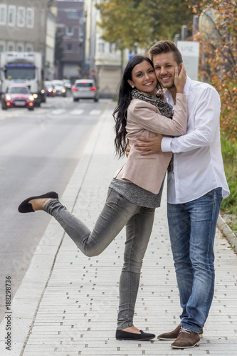 loving couple in urban environment - 188298736