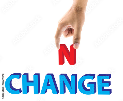 Finger pick a letters of Change and Chance word concept