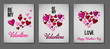 Quadro Valentines Day Greeting Cards, Love Holiday Sale Banner Ads Vector Set. Romantic Background, Gift Voucher Template. Valentines Day Greeting Cards, Ads Retro Decoration Sale Banner with Lettering