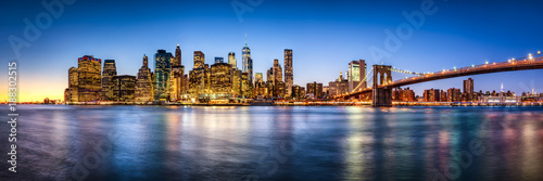 Foto Murales New York City skyline Panorama mit Brooklyn Bridge