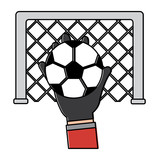 hand holding soccer ball goal vector illustration - 188303760